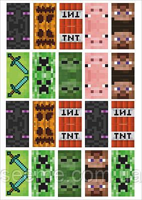 """Топперы для капкейков в стиле """"Minecraft"""", 1 лист"""