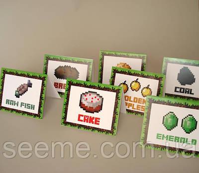 """Таблички для їжі в стилі """"Minecraft"""", 1 аркуш"""