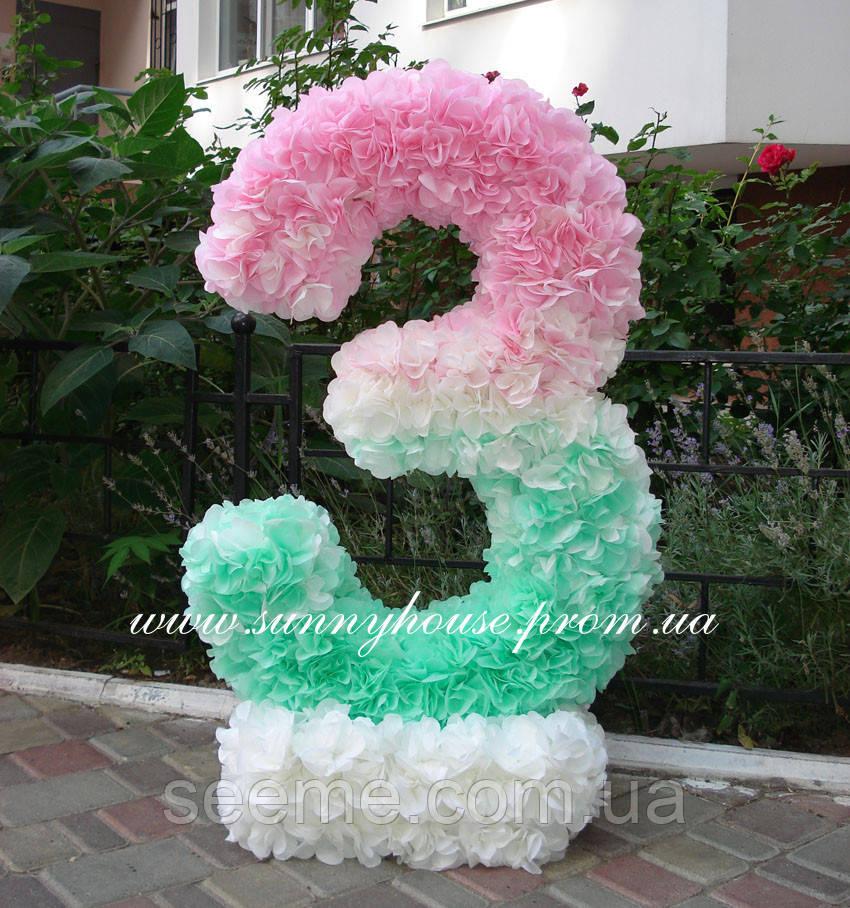 """Аренда декоративной цифры """"3"""" ручной работы, цвет мятно-розовый"""