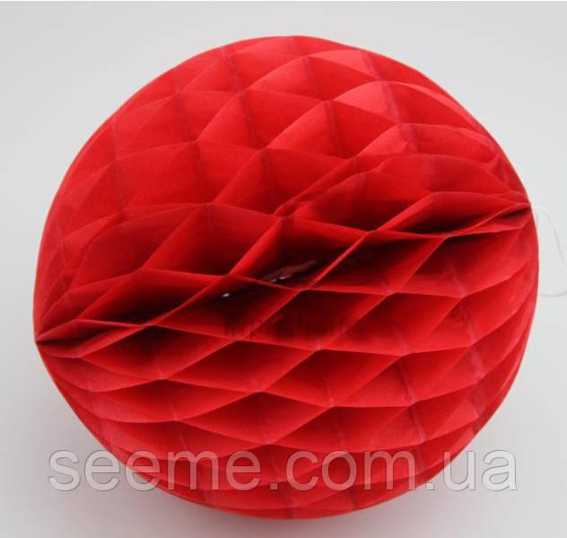"""Шар подвесной декоративный «Соты"""", диаметр 15 см.Цвет красный"""