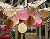 Шар подвесной декоративный «Соты», диаметр 30 см.Цвет карамель, фото 2