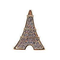 Брошь Эйфелева башня в стразах, металл под серебро,23мм