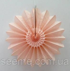 """Бумажный декор """"Вертушка"""", 30 см, цвет персиковый"""