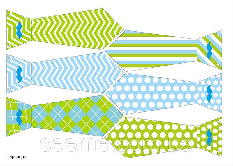 "Святкова гірлянда-краватки в стилі ""Little man"", 1 аркуш"