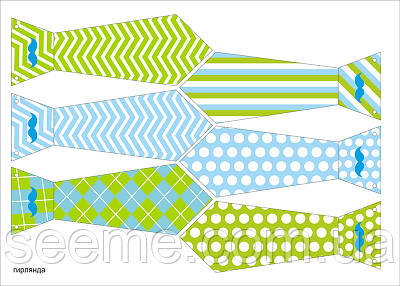 """Праздничная гирлянда-галстуки в стиле """"Little man"""", 1 лист"""