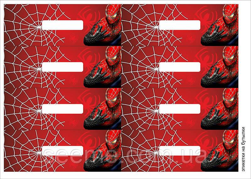 "Етикетки на пляшки у стилі ""Spider-Man"", 1 аркуш"