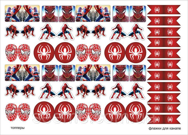 """Топперы для капкейков + флажки для канапе в стиле """"Spider-Man"""", 1 лист"""