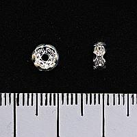 Фурнитура разделитель с белыми стразами,цвет металла серебро,5мм, цена за упаковку