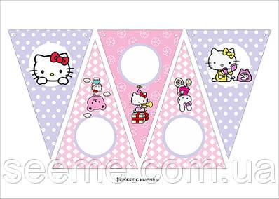 "Святкова гірлянда-прапорці в стилі ""Hello Kitty"", 1 аркуш"