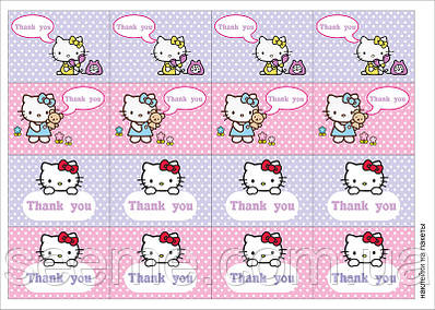 "Наклейки на пакети в стилі ""Hello Kitty"", 1 аркуш"