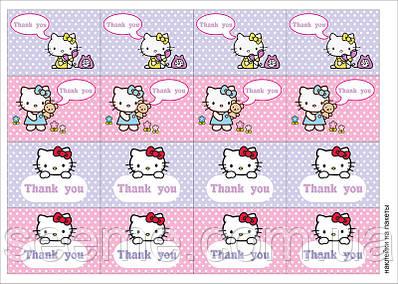 """Наклейки на пакеты в стиле """"Hello Kitty"""", 1 лист"""