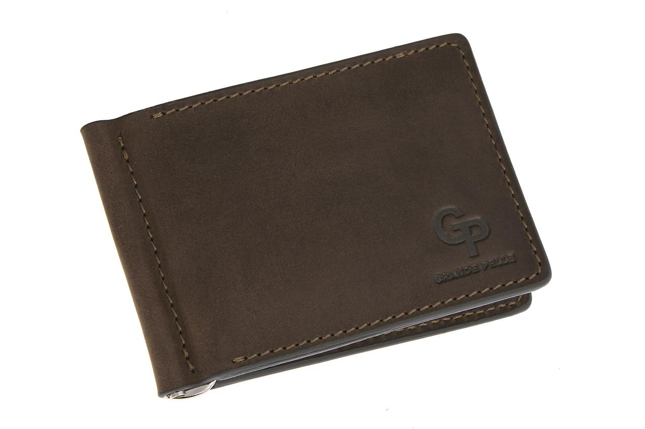 Зажим для купюр с монетницей, коричневый