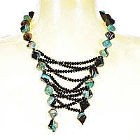 Колье из агата, зелёно-чёрные камни ромбовидной формы и чёрные бусины, длина 80см