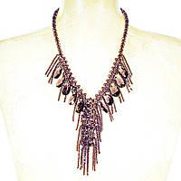 """Бусы """"чешское стекло"""" фиолетовые бусины разного размера и подвески капля, длина 90см"""