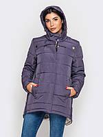 Женская зимняя куртка-парка больших размеров на двойном силиконе 90188
