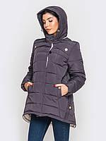 Женская зимняя куртка-парка больших размеров на двойном силиконе 90188/1