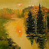 «Закат у реки» картина маслом