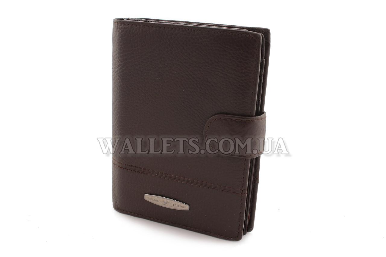 Чоловіче шкіряне портмоне TAILIAN, з відділом для паспорта,коричневе
