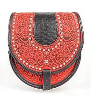 Женская кожаная сумка ручной работы полукруглая с металом