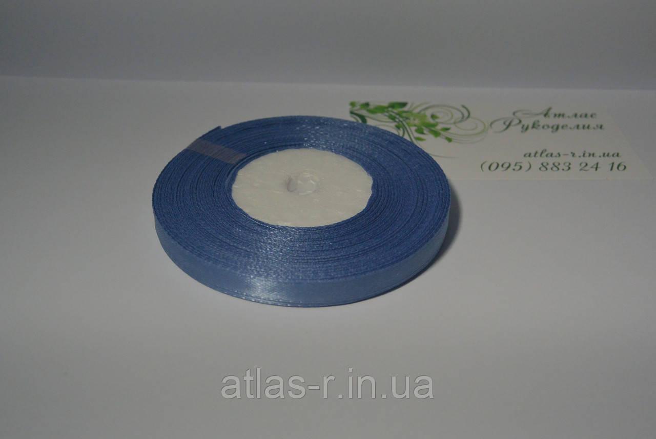 Синяя атласная лента 7мм 23м
