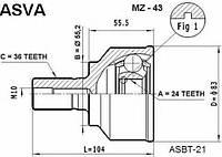 Граната внешняя (24x55.2x36)  HDK MA43; FEBEST 0510043, GR272560XB, GR272550XB; ASVA MZ43 на Mazda 3