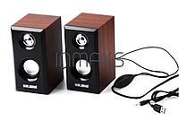 Колонки USB 2.0 M-006 деревянный корпус 6w
