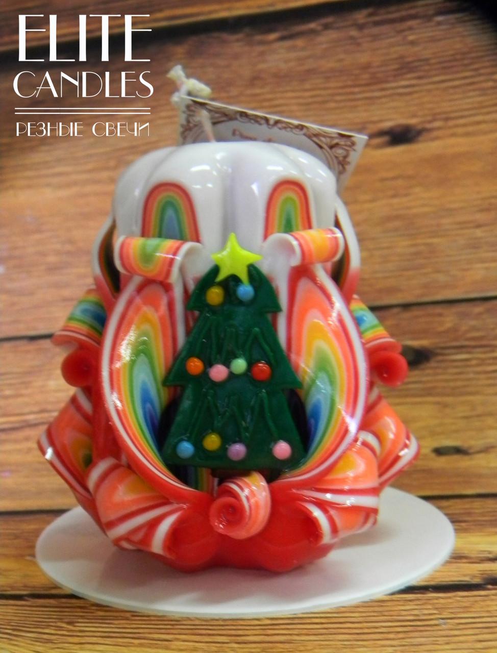 Новогодний подарок - резная свеча с ёлочкой, ручной работы, красиво горит и украшает интерьер