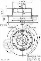 Диск тормозной задний FERODO DDF814; ATE 24011002251; BREMBO 08701410, 8701410; TRW DF2772 на Опель Вектра
