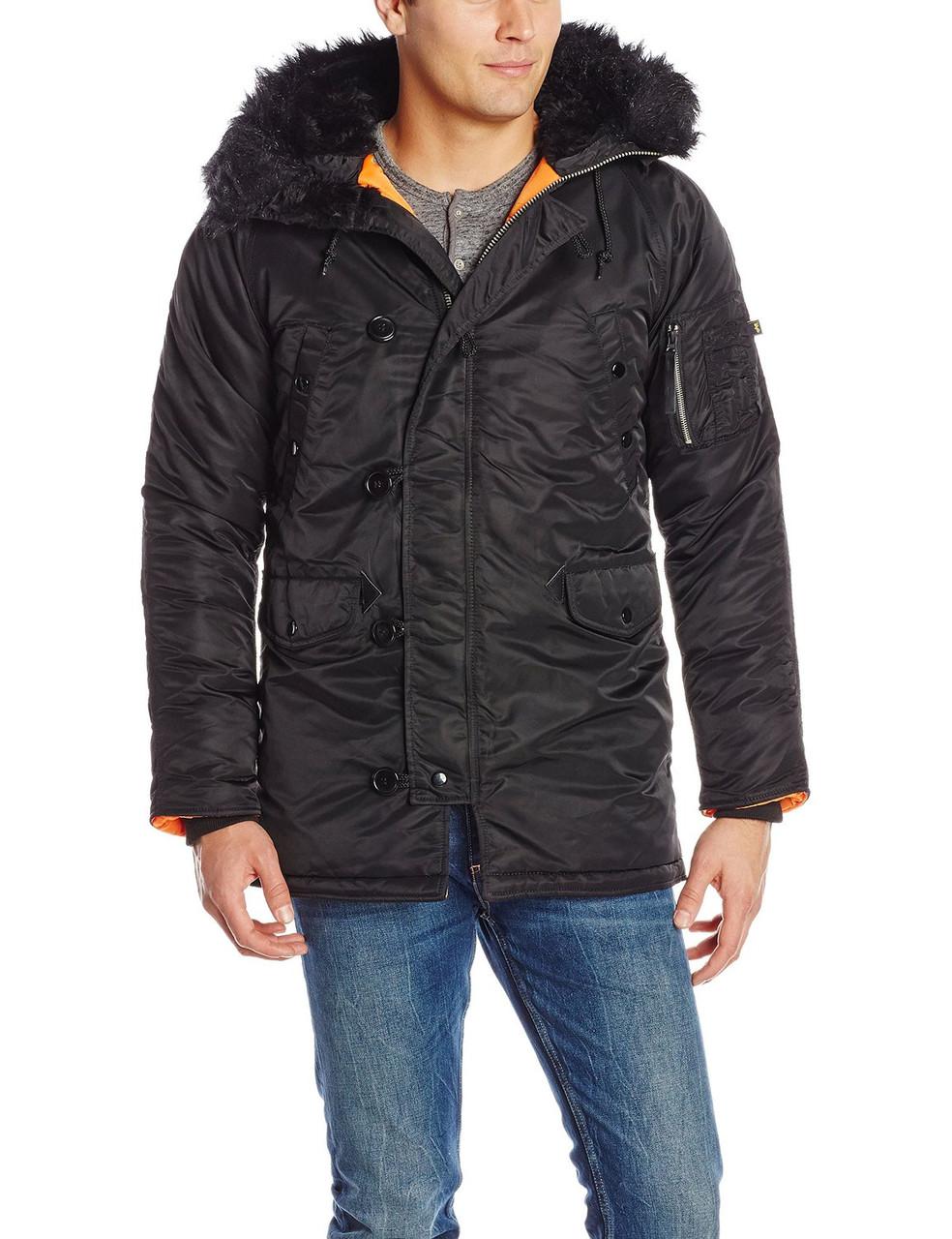 6da13822 Куртка Alpha Slim Fit N-3B Parka - Black/orange: продажа, цена ...