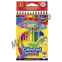 Карандаши цветные шестигранные, 12 цветов