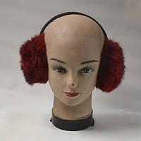 Зимові навушники з кролячого хутра-бордові