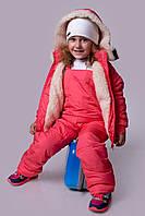 """Детский зимний костюм """"Лыжник"""" цв. коралл, Размеры 98,104,110,116,122,128 2288оса"""