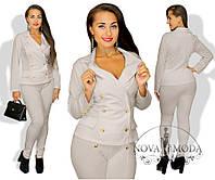 Женский Элегантный костюм с брюками бежевый  Батал