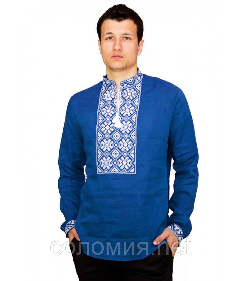 Рубашка вышитая гладью «Снежинка» синяя