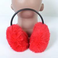 Зимові навушники з кролячого хутра -червоні