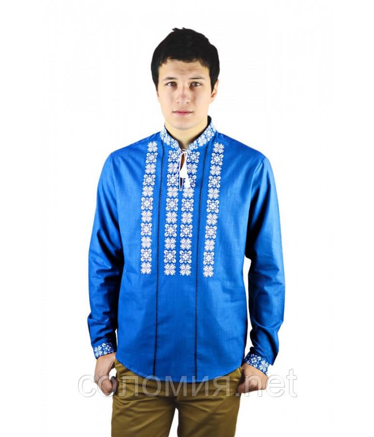 Рубашка вышитая крестиком и украшенная мережкой синяя