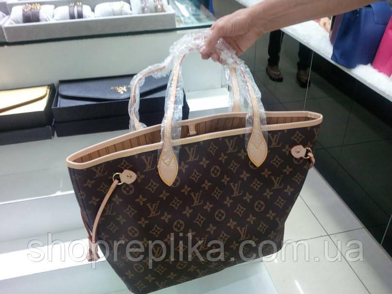 Сумка Louis Vuitton Neverfull Bag Бежевая 50см в наличии