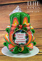 Свеча на рождество и новый год, ручной работы, красивых новогодних цветов