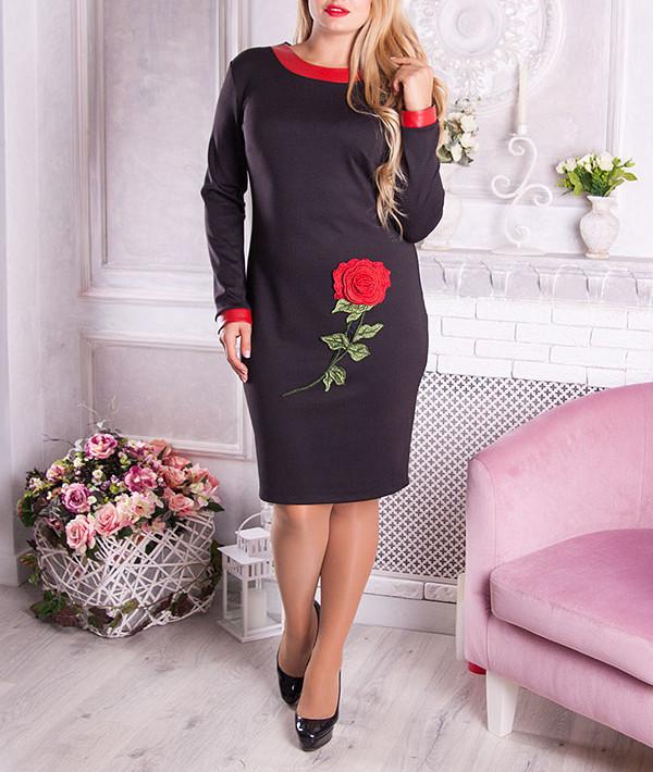 """Женское платье большого размера """"Роузет"""" с объемным цветком"""