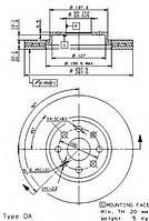 Диск тормозной передний (вентилируемый)  FERODO DDF1304; FIAT 55700920, 55700921, 55700918 на Opel Adam