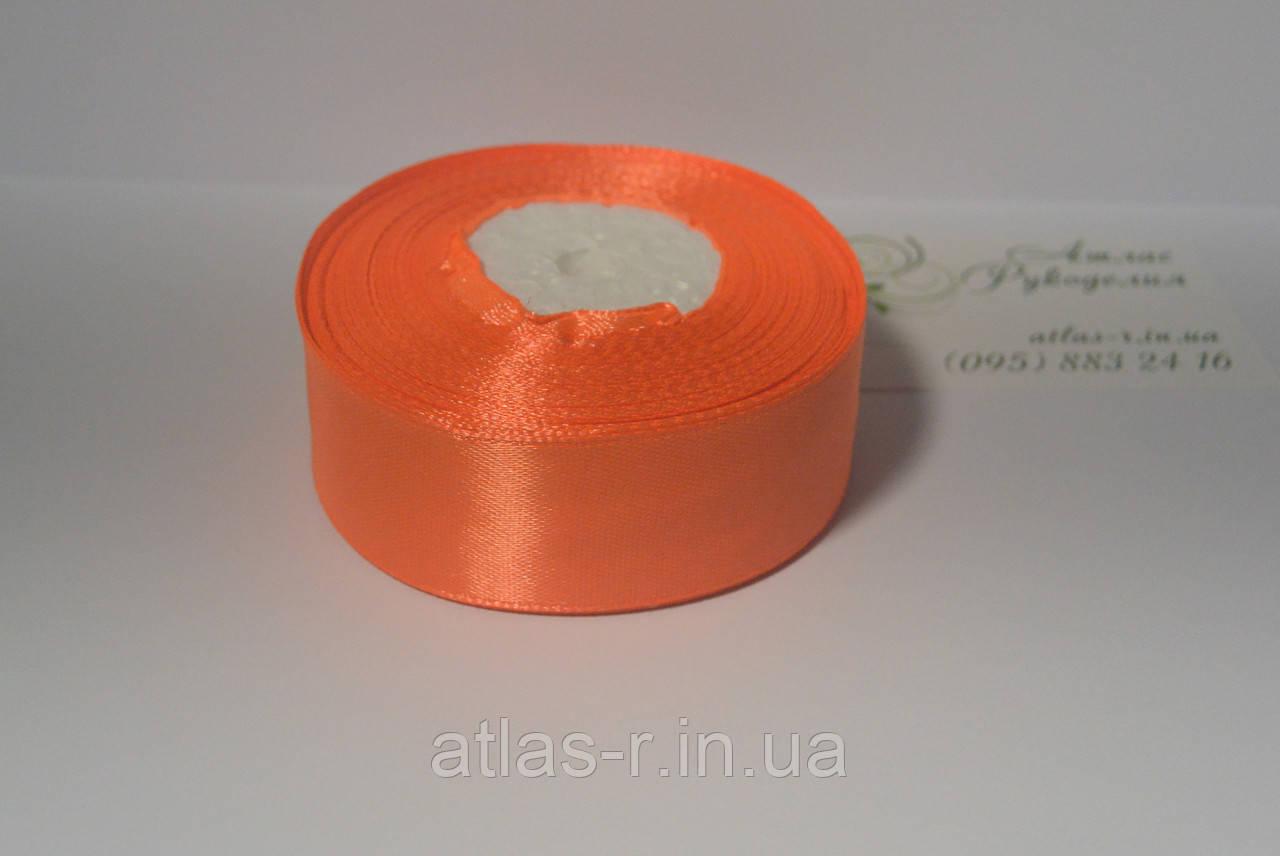 Ярко-оранжевая атласная лента 25мм 1м