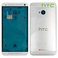 Корпус для HTC One Dual Sim 802w, серебристый, оригинал