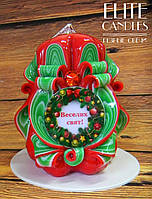 """Свеча ручной работы, с табличкой """"Веселих свят!"""" красивых новогодних цветов, очень яркий недорогой подарок"""
