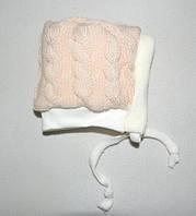 Шапочка для новорожденных (зимняя) бежевая, фото 1