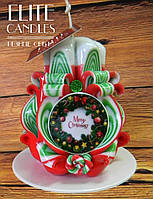 """Свеча ручной работы, с табличкой """"merry christmas"""" красивых новогодних цветов, очень яркий недорогой подарок"""