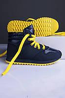 Кроссовки женские синие с жёлтым