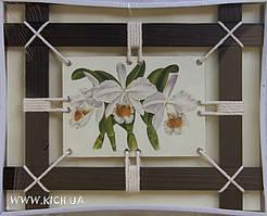 """Картина на льне """"Орхидеи"""" 30*37 см"""