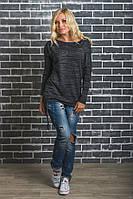 Женская удлиненная кофта темно-серая, фото 1