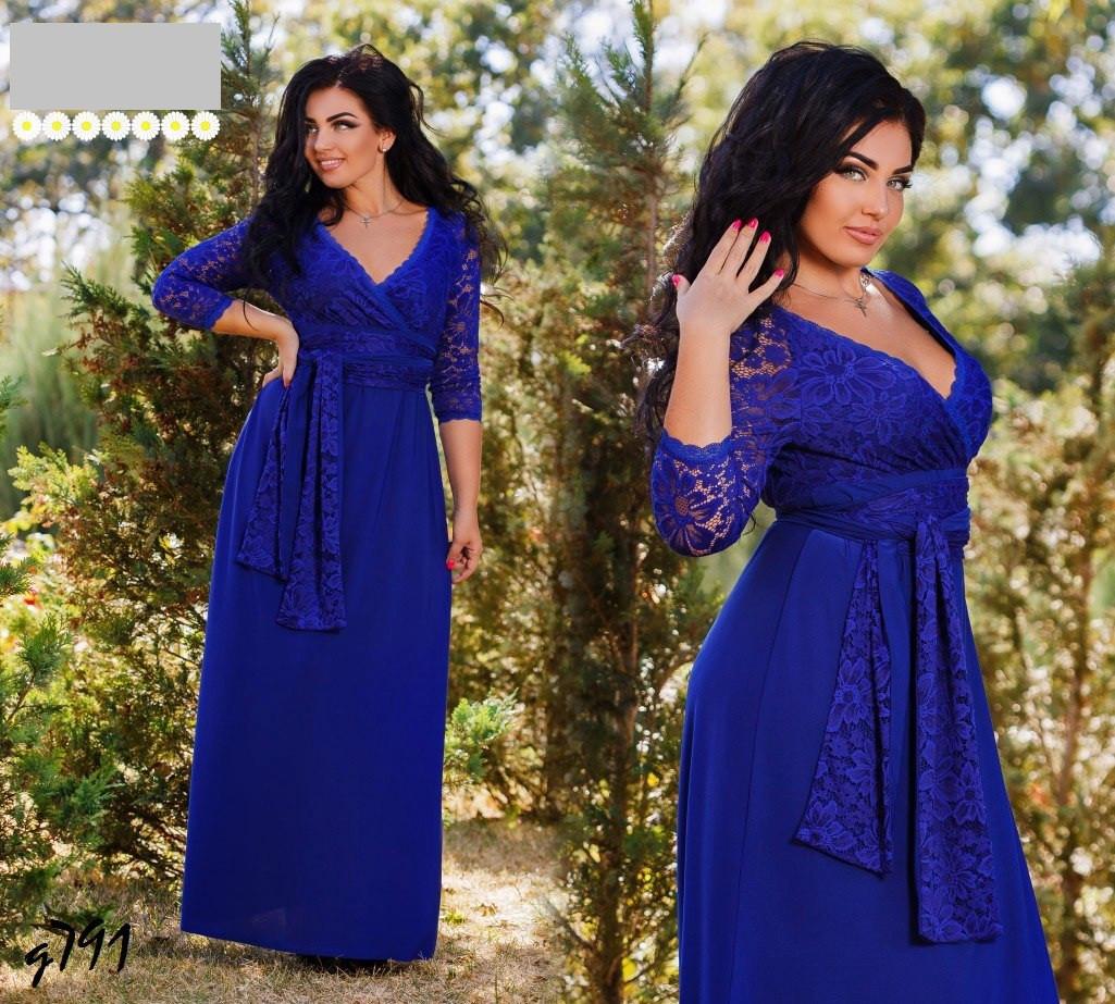 8641b4fd2f3ebe6 Нарядное женское платье в пол трикотаж-масло + стрейчевый гипюр размеры  50-52,