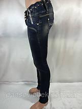 Женские  зауженные джинсы  с вышивкой и стразами, фото 3